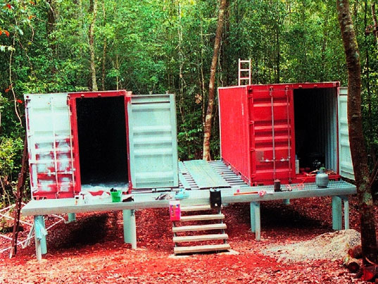 shipping container, rainforest, research center, rain forest, container home, prefabricated housing, hurricane, australia, cyclone larry, earth science australia