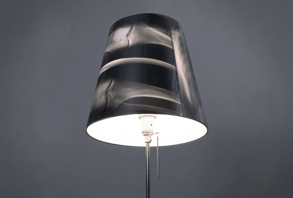 """x-ray lamp"", ""lamp shade"", halloween, ""black and white"", reused, film"