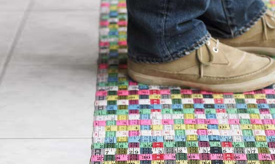 Rainbow Floor Mat Made From Recycled Measuring Tape Design