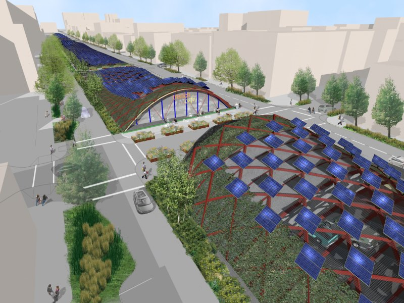 solar powered garden canopy proposed for new york s bqe
