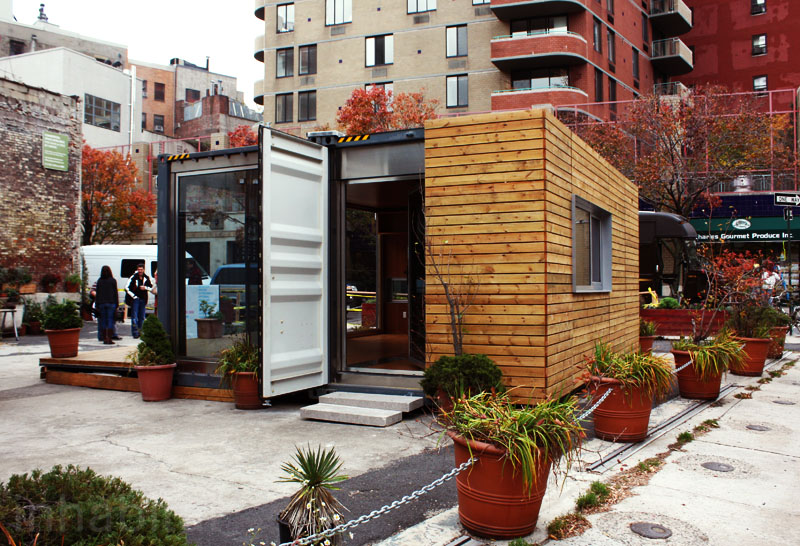Shipping container prefab home pops up in nyc 39 s west village inhabitat green design - Are shipping container homes safe ...
