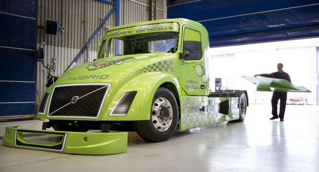 volvo, mean green, hybrid truck, hybrid vehicle, diesel