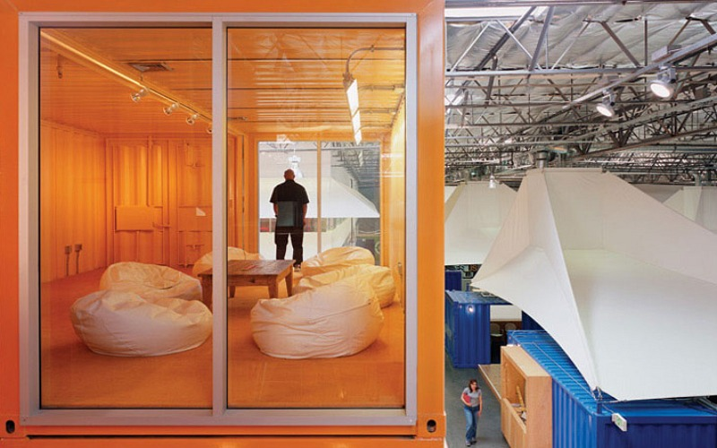 pallotta teamworks, clive wilkinson architects, shipping containers, shipping container office, green design, sustainable architecture