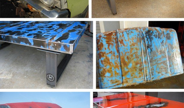 Unique Tables Made from Rusted Old Car Hoods