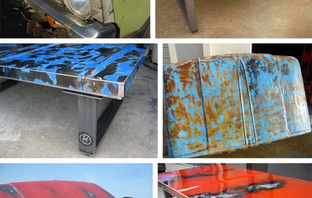 Unique Tables Made from Rusted Old Car Hoods Inhabitat Green