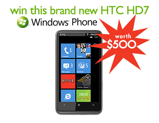 contest giveaways, free stuff, giveaway, green giveaway, htc hd7, t-mobile, windows 7, windows 7 phone