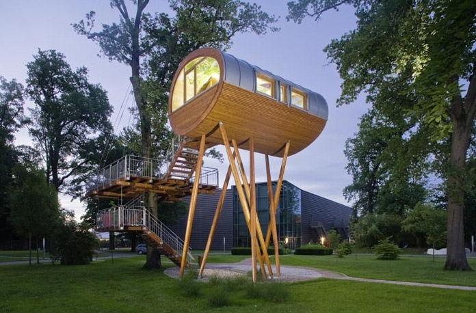 baumraum, Eco Architecture, green design, world of living, weber haus, weber house, Prefab architecture, small living, small space, sustainable design, tiny houses, tree house, treehouse, Treehouses, tree houses, green architecture