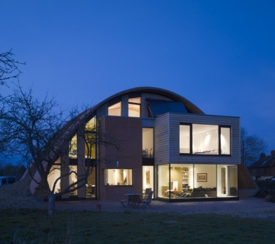England's First Passive House Is A Vaulted Green-Roofed