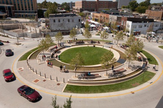 normal, illinois, circle, roundabout, water, cleansing roundabout, green design, hoerr schaudt
