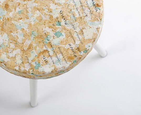 kulla design, 50% sawdust, recycled materials, recycled material chairs, recycled stools, recycled plastic bags, compact=