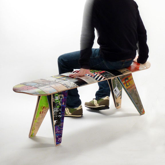 green furniture, green interiors, green home decor, Green design, upcycled furniture, green products, recycled products, skateboarding, Deckstool