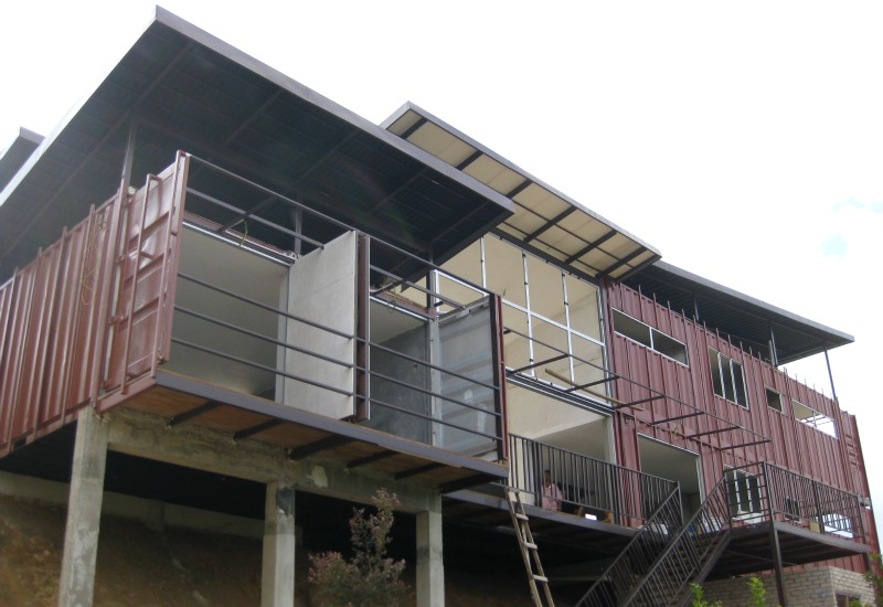 Stacked Shipping Containers Create Smart Green Homes In