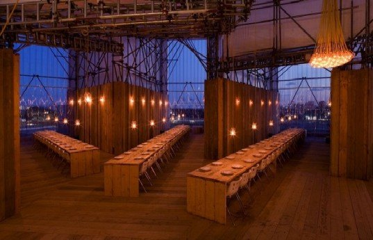 studio east dining, carmody groarke, london, pop up restaurant, recycled materials, green design, sustainable architecture