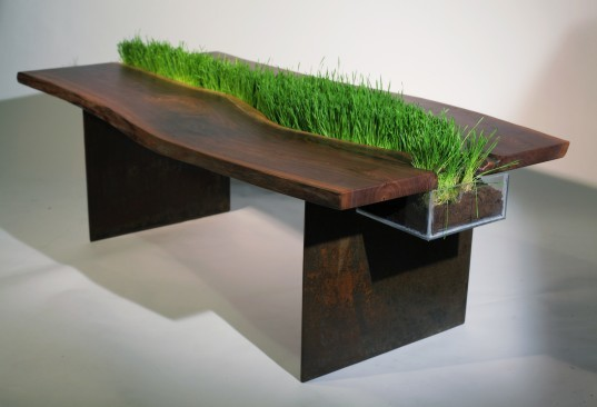 emily wettstein, reclaimed walnut table, table with removable planter, green design, brooklyn design, recycled materials, recycled furniture, eco design, green design, green furniture, eco furniture design