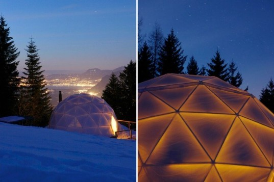 whitepod, swiss alps, eco resort, geodesic dome, green design, eco travel