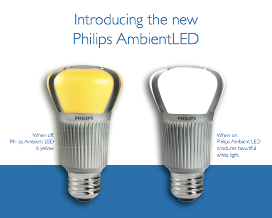 Philips AmbientLED bulb, eco light bulb, green light bulbs, sustainable lighting, sustainable design, green design, green products, energy efficient lighting, light emitting diode, 12 watt led bulb
