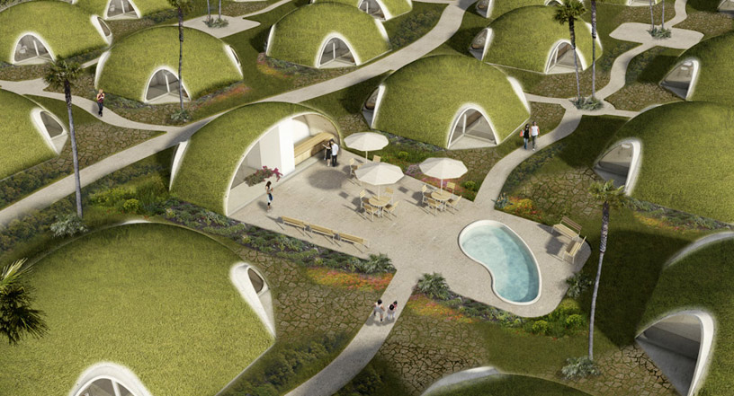 Hobbit Homes binishell modular shelters look like green hobbit homes