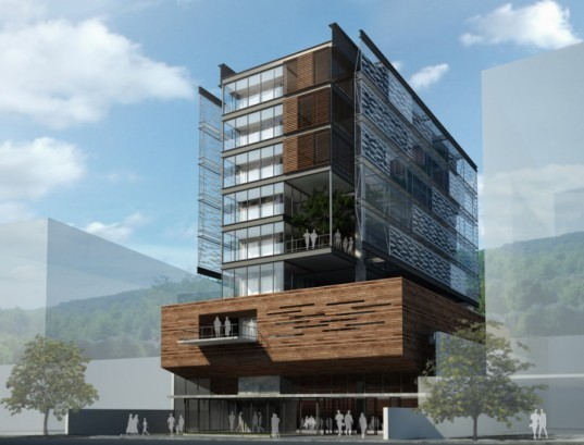 Brasil green building, AUM arquiteto, natural cooling, Passive cooling, green roof, office solar array, screened facade, Council of Administration of Santa Catarina,