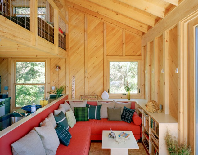 green building maine, maine retreat cabin, off grid retreat, off-grid, rain catchment, Solar Power, sun mar, sunfrost