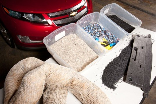 Chevy Volt, recycle oils spill booms, recilced car parts, Chevy volt materials,electric Chevy Volt, green materials, recycle car materials, gulf oil spill booms