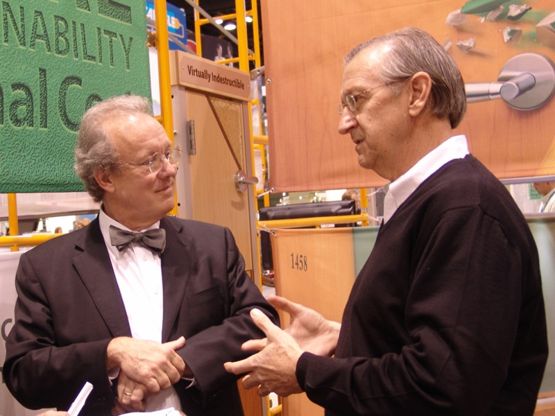 Bill McDonough, construction specialties, cradle-to-cradle, green interview, green products, green wash, GreenBuild, Herman Miller, Howard Williams, intelligent materials pooling, materials recyclining, MBDC, McDonough interview, product chemistry, PVC, reverse logistics, sustainable design, technical nutrient, upcycling, use periods, William McDonough Partners