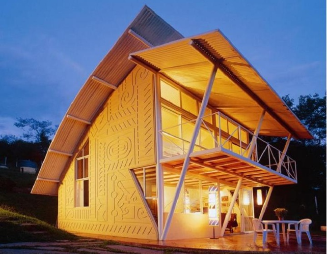 Brazilian home showcases light art and salvaged for 70m2 house design
