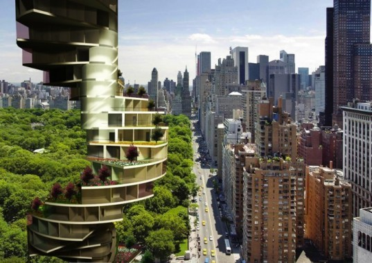 tiered apartment design, Nabito Architects, stairscraper tower, green apartment building, urban density, rooftop garden,
