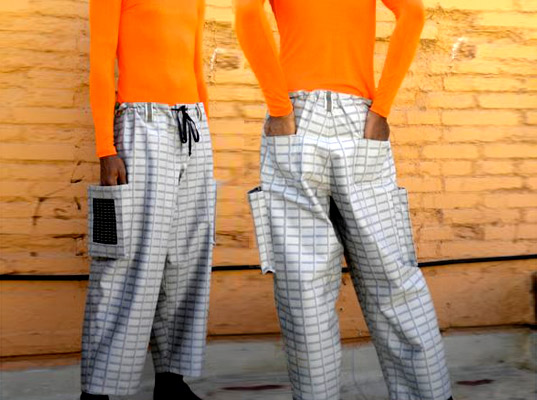 Slvr Lining, eco-friendly pants, sustainable pants, wearable technology, solar fashion, solar clothing,
