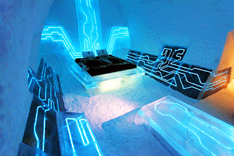 electrified tron ice hotel suite opens in sweden inhabitat green design innovation. Black Bedroom Furniture Sets. Home Design Ideas