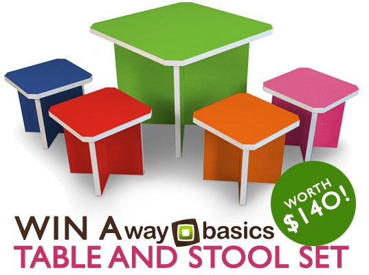 charlotte table set, contest, eco friendly furniture for kids, flat pack furniture, giveaway, green design for kids, green kids, kids furniture, kids table set, recycled chars and table set, recycled paperboard furniture, sustainable design for kids, way basics, win it wednesday, zboard furniture