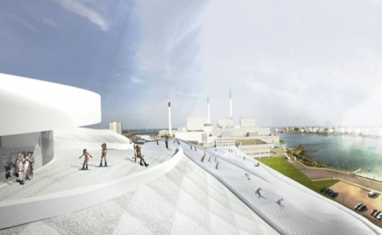 Amagerforbraending, artificial skiing, big, Bjarke Ingels Group, Copenhagen green building, energy carbon output, green energy, green sking, green smokestack, Industrial architecture, waste to energy