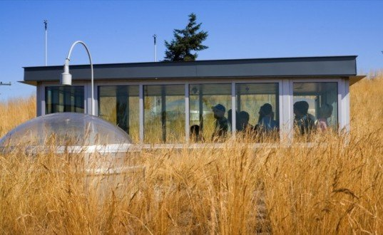 green roof, public green roof, seattle green design, green library, eco library, interior daylighting, roof top weather gauge, Northwestern green architecture, Ballard library, Bohlin Cywinski Jackson