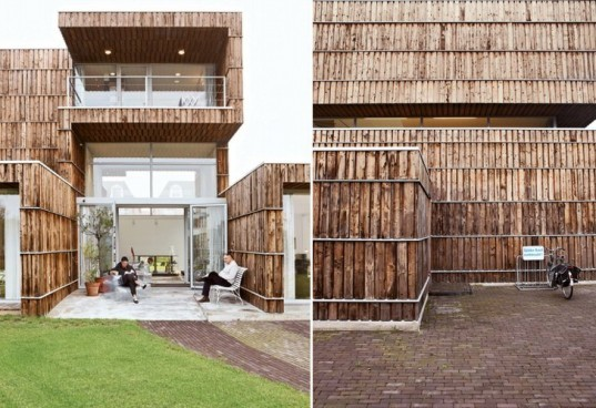 Modern dutch house built from salvaged billboards and for Eco building supplies