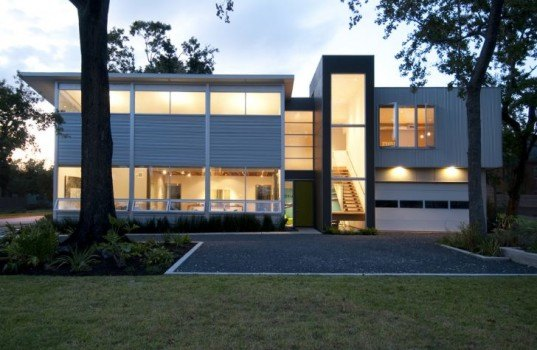 Live-Work Studio, Intexure, Houston, butterfly roof, eco home, eco office, green building