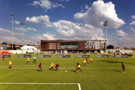 soweto, football training centre, south africa, rufproject, solar passive design, wooden louvers