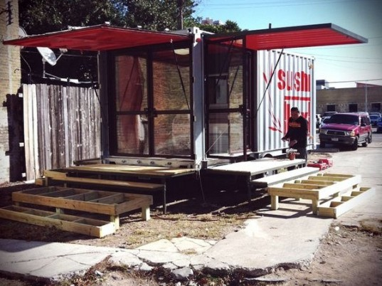 sushibox, austin, container conversion, shipping container restaurant, cargotecture, designSTUDIOmodern