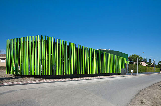 Ms Lounge Has A Forest Like Facade Of Recycled Plastic