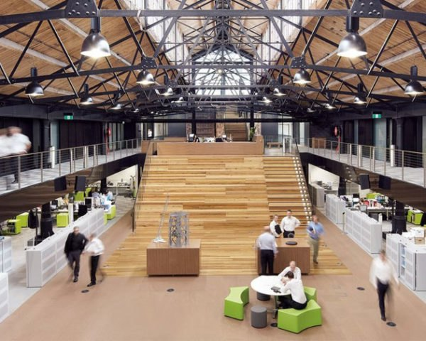 Goods Shed North, refurbishment, eco office, green office, green workplace, eco workplace, green design, green architecture, renovation, reclaimed materials, recycled materials, green architecture, bvn architecture