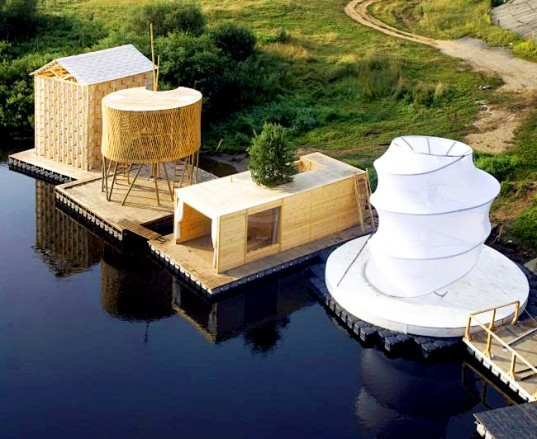 Russian festival, floating Finnish sauna, Festival of Landscape Objects, Sauna, tree on roof, floating house, floating houses, green sauna, Rintala Eggertsson Architects
