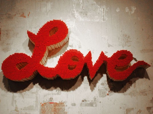 pei san ng, love sign, recycled materials, recycled love sign, sign made of matches, matchstick love sign, eco art green design, eco design, reclaimed materials, green art
