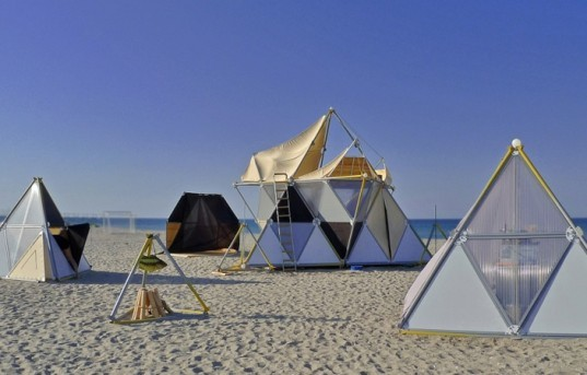 portable party venue, chillout colony, Y-bio, stellated octahedron, Sierpinski triangle, extended octahedron, stellated octahedron