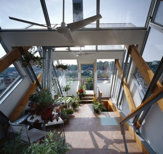 Studio d'ARC, Pittsburg green building, pittsburg green house, biophillic garden, urban green house, rooftop greenhouse, passive solar heating,heat urban snorkel, erv, Energy Recovery Ventilator