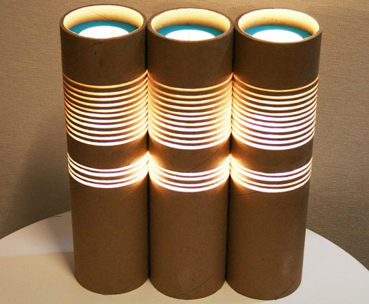 green lamps, energy efficient lighting, sustainable design, green design, energy-efficient light bulbs, philips, interior lighting, low-energy lighting, green lighting 101, Paper Tube Lamp by Ruth Oh
