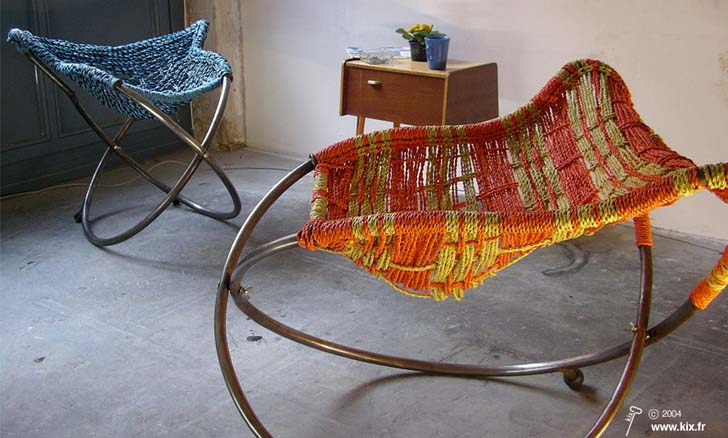 Mousso Koroba Rocking Chairs Turn Recycled Plastic Bags