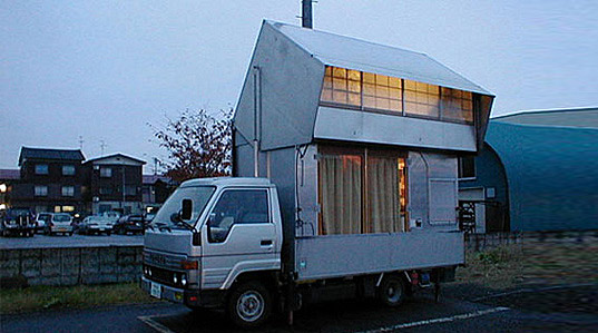 japanese camper car, double decker camper car, recycled truck mobile home, transforming mobile home, green design, recycled materials, green truck, green car, transforming home, transforming truck, two story camper car, eco design, japan mobile home, japanese mobile home, japanese camper
