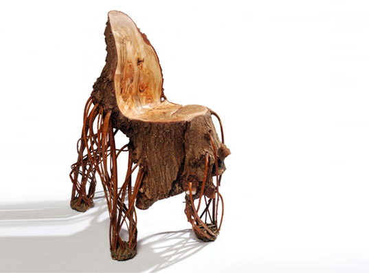 floris wubben, bauke fokkema, willow tree chair, tree chair, green design, tree trunk chair, eco design, sustainable design, green art, green chair, wooden chair, natural wood chair