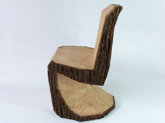 Arbor Chair: A Rustic Interpretation of the Panton Chair Carved From a Tree  Trunk