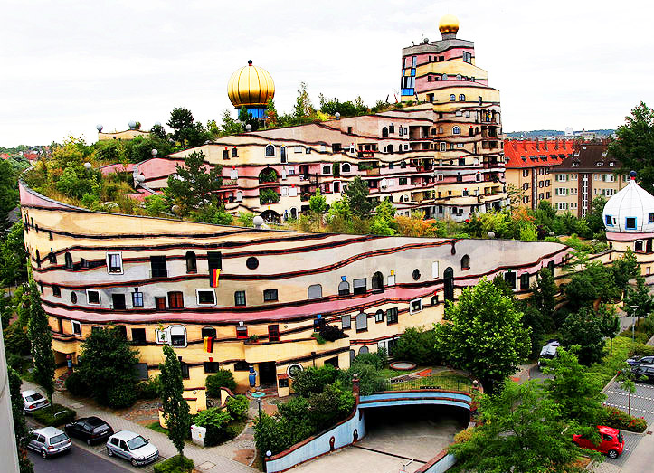 Waldspirale Is A Curvy Rainbow Colored Apartment With A Forest On Top - Curvy-spiral-house-design