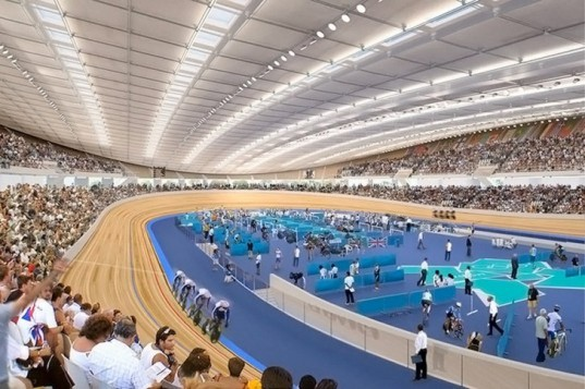 hopkins architects, london 2012 velodrome, sustainable architecture, green design, green building, sustainable design, london 2012 olympics, green stadium, energy efficient architecture, natural ventilation, rainwater recycling