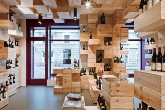 Albert Reichmuth, green interior, green interior design, green wine store, recycled interior, recycled store, recycled wine boxes, Swiss green store, Wine Store